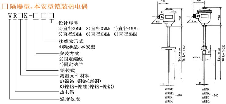 温度仪表 热电偶 > wrkk-443防爆热电偶上海自动化仪表三厂